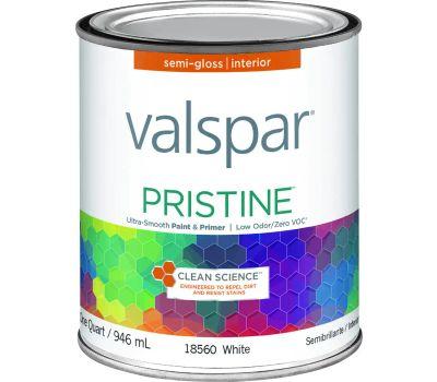 Valspar 18560 Interior Latex Paint, Semi-Gloss, White, 1 Qt Can