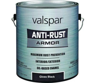 Valspar 21824 Anti Rust Paint Rust Oil Based VOC Gloss Black Gallon