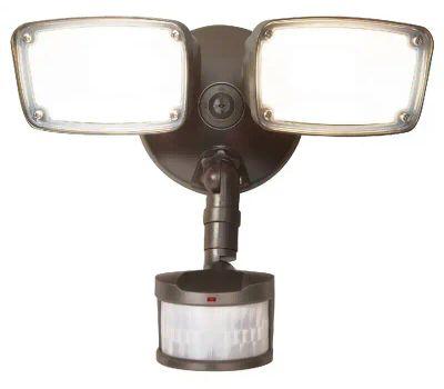 Halo MST203T27B Die Cast Flood Motion Twin Head Flood Light, 120 V, 22.8 W, 2-Lamp, Led Lamp, 2034 Lumens