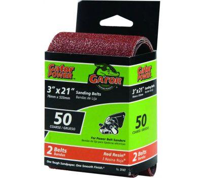 Ali 3147 Gator 3 By 21 Inch Professional Aluminum Oxide Sanding Belt 50 Grit Coarse 2 Pack