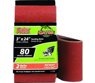Ali 3156 Gator 3 By 24 Inch Professional Aluminum Oxide Sanding Belt 80 Grit Medium 2 Pack