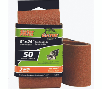 Ali 3157 Gator 3 By 24 Inch Professional Aluminum Oxide Sanding Belt 80 Grit Medium 2 Pack