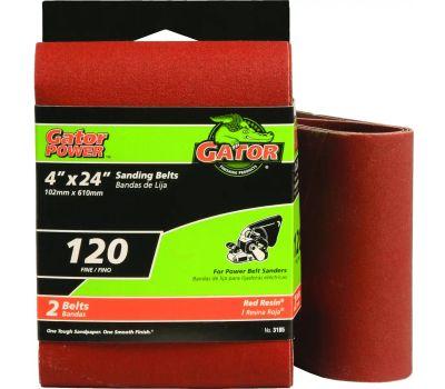 Ali 3185 Gator 4 By 24 Inch Professional Aluminum Oxide Sanding Belt 120 Grit Fine 2 Pack
