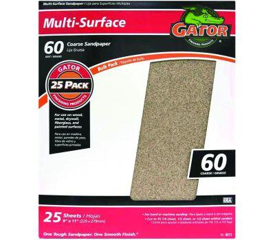 Ali 4211 Gator 9 By 11 Inch Multipurpose Sandpaper 60 Grit Aluminum Oxide