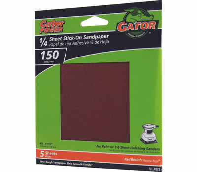 Ali 4073 Gator 4-1/2 By 4-1/2 Inch Sandpaper Adhesive Backed 150 Grit Aluminum Oxide 5 Sheets