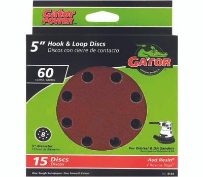 Ali 4144 Gator 5 Inch 8 Hole Hook And Loop Aluminum Oxide Sanding Discs 60 Grit Coarse 15 Pack