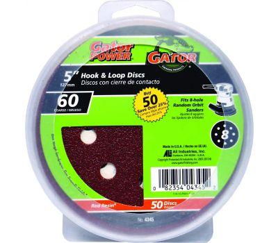 Ali 4345 Gator 5 Inch 8 Hole Hook And Loop Aluminum Oxide Sanding Discs 60 Grit Coarse 50 Pack