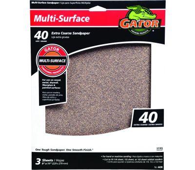 Ali 4439 Gator 9 By 11 Inch Multi Surface Sandpaper 40 Grit Aluminum Oxide 3 Sheets