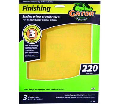 Ali 7266 Gator 9 By 11 Inch Premium Sandpaper 220 Grit Aluminum Oxide 3 Sheets