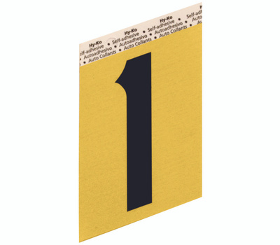 Hy Ko GG-25/1 Hy-Ko 3-1/2 Inch Press-On Gold Aluminum Black Number 1