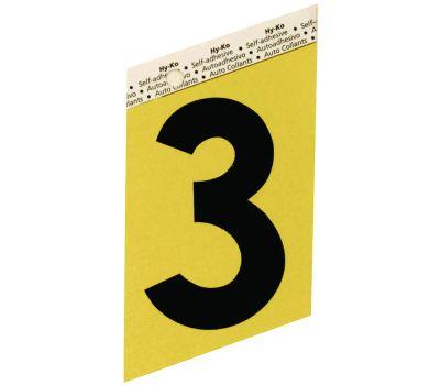Hy Ko GG-25/3 Hy-Ko 3-1/2 Inch Press-On Gold Aluminum Black Number 3