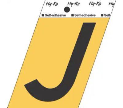 Hy Ko GG-25/J 3-1/2 Inch Press-On Gold Aluminum Black Letter J
