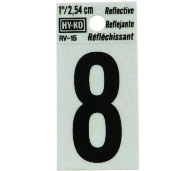 Hy Ko RV-15/8 RV Series 1-1/4 Inch Black On 1-1/2 Inch Silver Reflective Vinyl Number 8