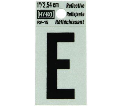 Hy Ko RV-15/E RV Series 1-1/4 Inch Black On 1-1/2 Inch Silver Reflective Vinyl Letter E