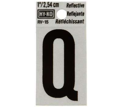 Hy Ko RV-15/Q RV Series 1-1/4 Inch Black On 1-1/2 Inch Silver Reflective Vinyl Letter Q