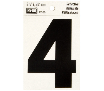 Hy Ko RV-50/4 RV Series 3 Inch Bend And Peel Black On Silver Reflective Vinyl Number 4
