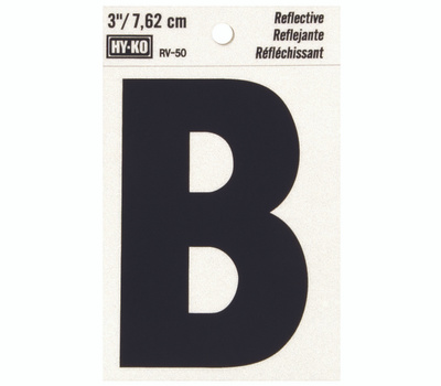Hy Ko RV-50/B RV Series 3 Inch Bend And Peel Black On Silver Reflective Vinyl Letter B