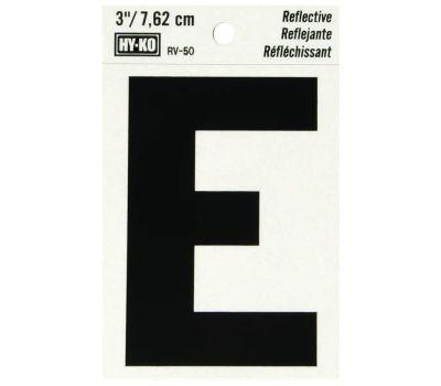 Hy Ko RV-50/E RV Series 3 Inch Bend And Peel Black On Silver Reflective Vinyl Letter E