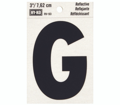 Hy Ko RV-50/G RV Series 3 Inch Bend And Peel Black On Silver Reflective Vinyl Letter G