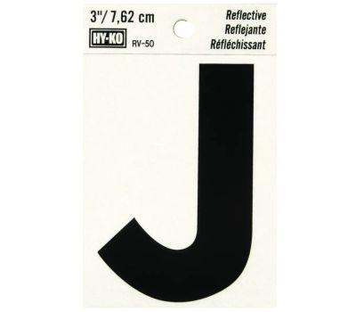 Hy Ko RV-50/J RV Series 3 Inch Bend And Peel Black On Silver Reflective Vinyl Letter J