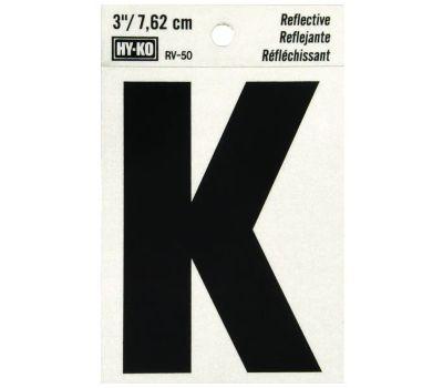 Hy Ko RV-50/K RV Series 3 Inch Bend And Peel Black On Silver Reflective Vinyl Letter K