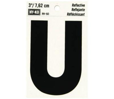 Hy Ko RV-50/U RV Series 3 Inch Bend And Peel Black On Silver Reflective Vinyl Letter U