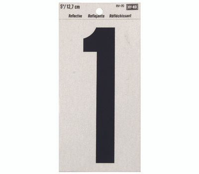 Hy Ko RV-70/1 RV Series 5 Inch Bend And Peel Black On Silver Reflective Vinyl Number 1