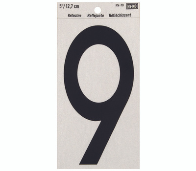 Hy Ko RV-70/9 RV Series 5 Inch Bend And Peel Black On Silver Reflective Vinyl Number 9