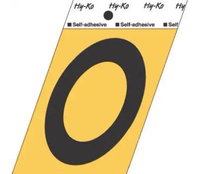Hy Ko GG-25/O 3-1/2 Inch Press-On Gold Aluminum Black Letter O