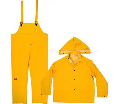 Custom Leathercraft R101M Climate Gear Rain Suit, M, Pvc, Yellow, Detachable Collar