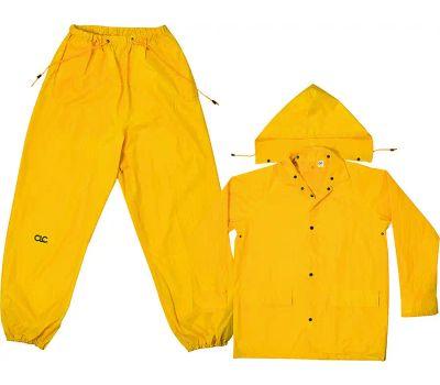 Custom Leathercraft R102M Climate Gear Rain Suit, M, 170t Polyester, Yellow, Detachable Collar