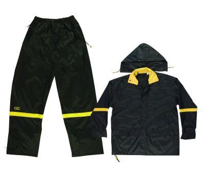 Custom Leathercraft R103M Climate Gear Rain Suit, M, 190t Nylon, Black/Yellow, Detachable Collar, Zipper Closure