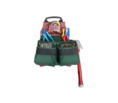 Custom Leathercraft 51838 Signature Elite Nail and Tool Bag, 11 in W, 7 in D, 13 in H, 10 -Pocket, Nylon, Green