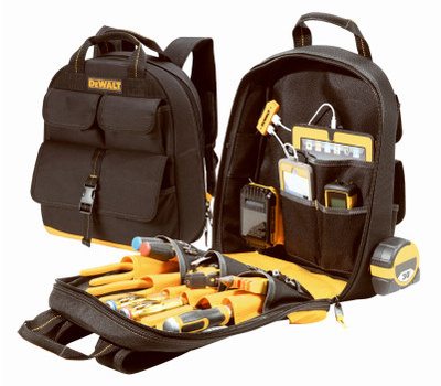 Custom Leathercraft DGC530 DeWalt Tool Backpack With Usb Charging, 13 in W, 5-1/2 in D, 16 in H, 23 -Pocket, Polyester, Black/Yellow