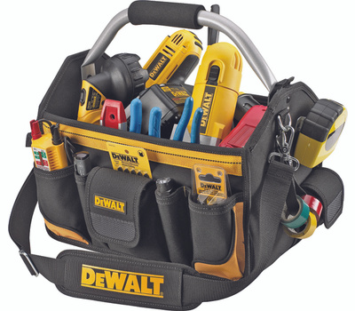Custom Leathercraft DG5587 DeWalt Tool Carrier, 14 in W, 8-1/2 in D, 14 in H, 23 -Pocket, Ballistic Poly Fabric, Black/Yellow