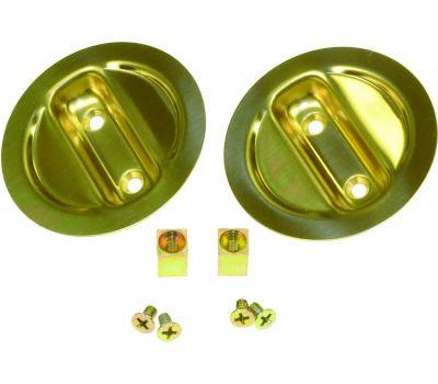 LE Johnson 21-3PPK2 Round Pocket Door Dummy Pull 2-1/8 Inch Bore Bright Brass