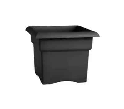 Bloem VER14908 Veranda Deck Box Planter, 14 in W, Square, Plastic, Charcoal