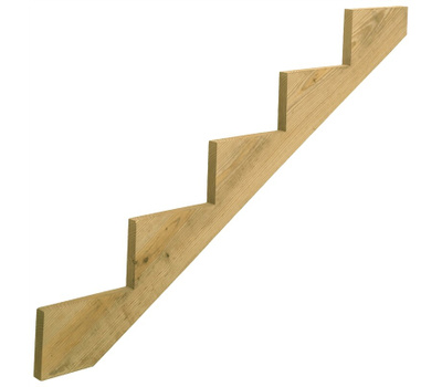 Universal Forest 279714 Stair Stringer, 59.77 in L, 11-1/4 in W, 5-Step, Wood, Yellow
