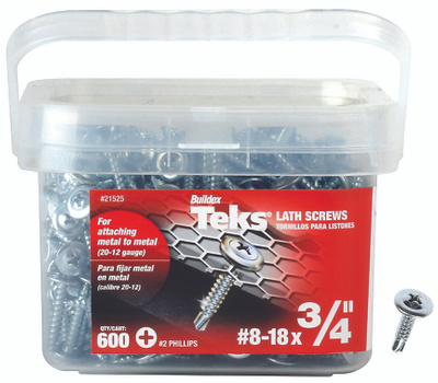 ITW Buildex 21525 Teks Drill Point Lath Screws #8 By 3/4 Inch Truss Head Phillips 600 Pack