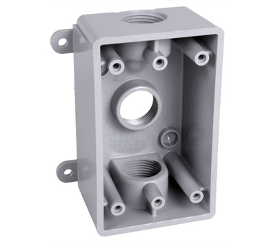 Hubbell PSB37550GY Box Outlet 3hl Wp 1/2&3/4in