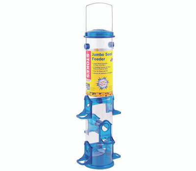 Classic Brands 38030 Stokes Seed Bird Feeder, 18 in H, 2.5 Qt, Polycarbonate, Blue/Clear/Green, Hanging Mounting