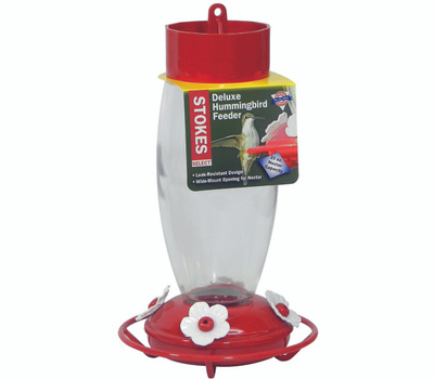 Classic Brands 38105 Stokes More Birds Deluxe Hummingbird Feeder, 30 Ounce, 4-Port/Perch, Glass/Plastic, Red, 10.6 in H