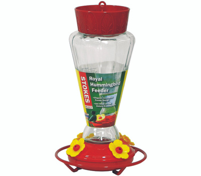 Classic Brands 38135 Stokes More Birds Royal Hummingbird Feeder, 28 Ounce, 4-Port/Perch, Glass/Plastic, Red, 10-3/4 in H