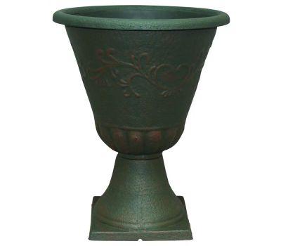 True Temper EB-029809 Southern Patio Sonoma Urn Planter, 16 in W, 16 in D, Resin/Stone Composite, Rust