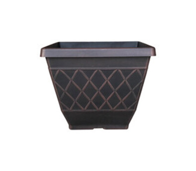 True Temper HDR-054856 Planter, Square, Resin, Brown, Textured