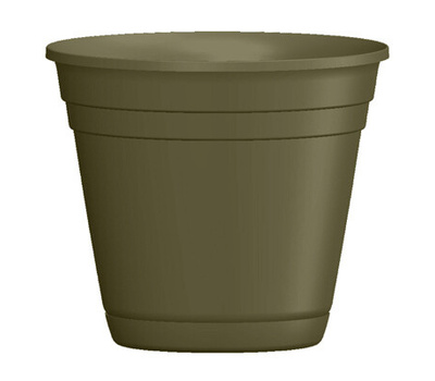 True Temper RN1608OG Southern Patio 16 Inch Rolled Rim Planter And Saucer Green