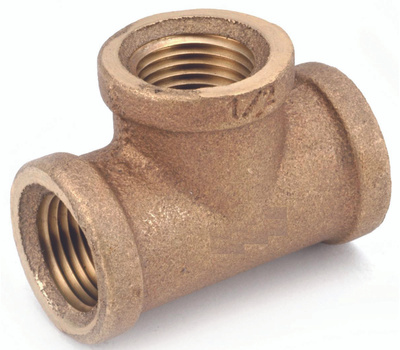 Anderson Metal 738101-02 Pipe Tee, 1/8 in, Fipt, Red Brass, 200 Psi Pressure