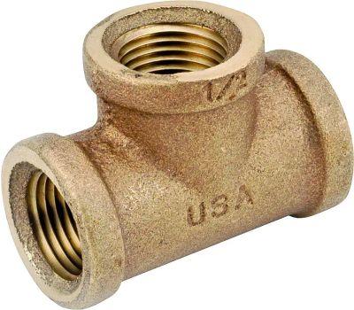 Anderson Metal 738101-06 Pipe Tee, 3/8 in, Fipt, Red Brass, 200 Psi Pressure