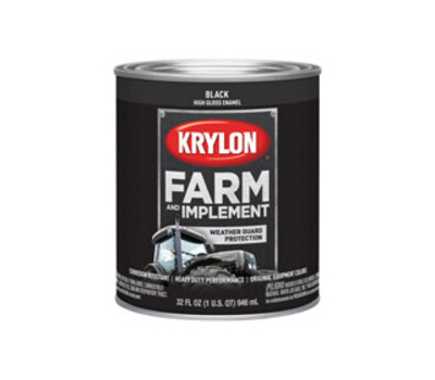 Krylon K02020000 Farm & Implement Paint Gloss Black Quart