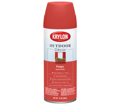 Krylon K09338000 Outdoor Decor Spray Paint Satin Poppy 12 Ounce